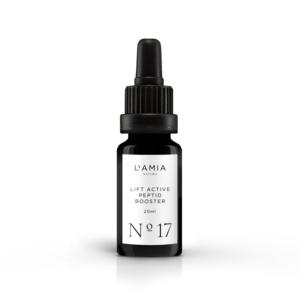 Frasco de cristal oscuro de crema facial con Péptido Argireline de la marca L'Amia. Similar al Botox pero con ingredientes naturales.