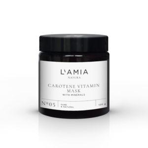 Máscara vitaminas caroteno. Frasco de cristal y tapón oscuro de L'Amia Natura, cosmética natural